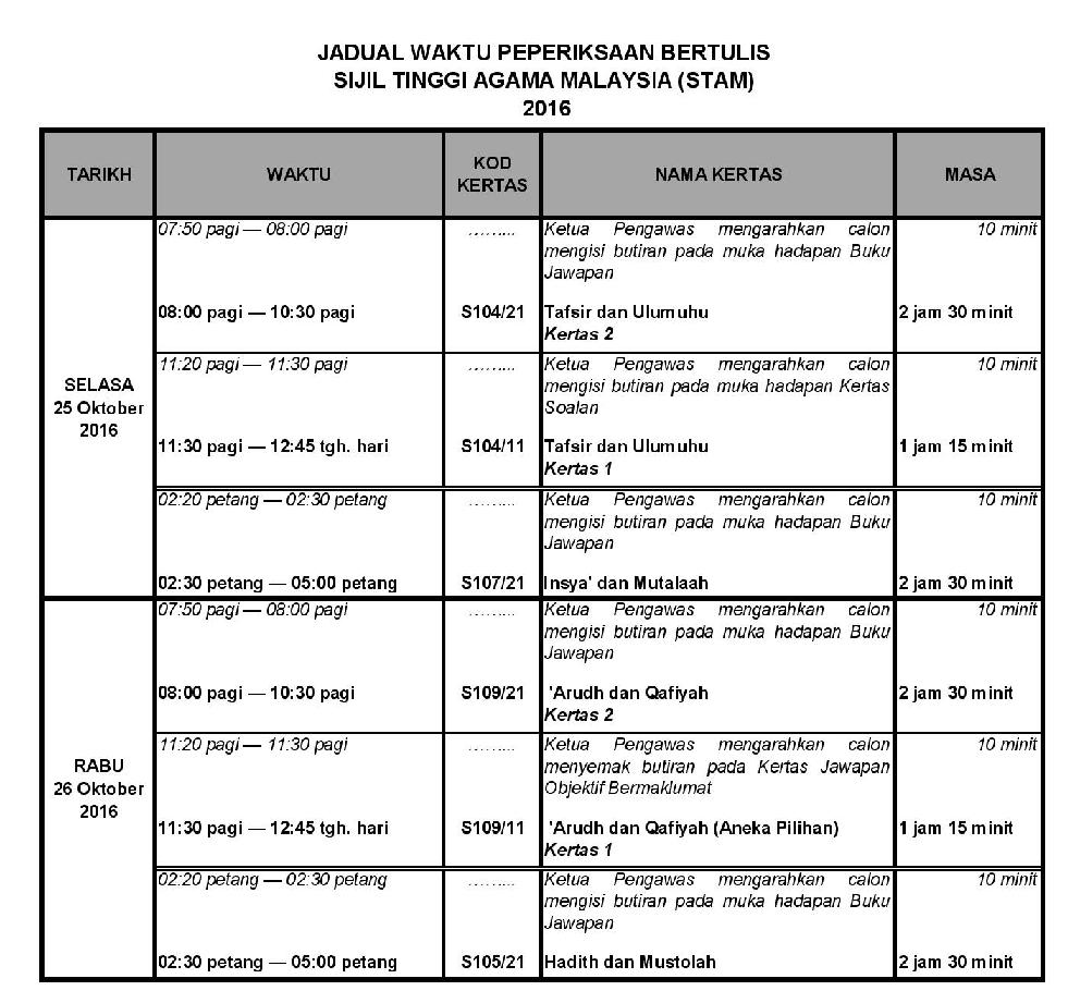 Jadual Peperiksaan STAM 2016
