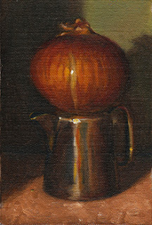 Oil painting of a brown onion on top of a small silver-plated jug.