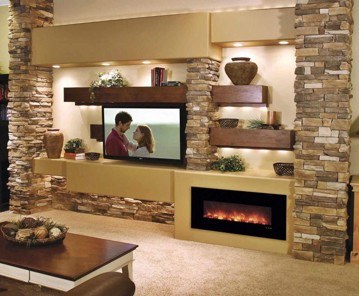 Living Room Decoration More Beautiful With Natural Stone Wall
