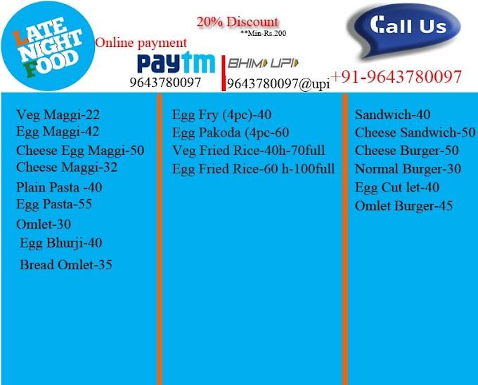Late Night Foods- Best Quality - Online Delivery - @20% Discount