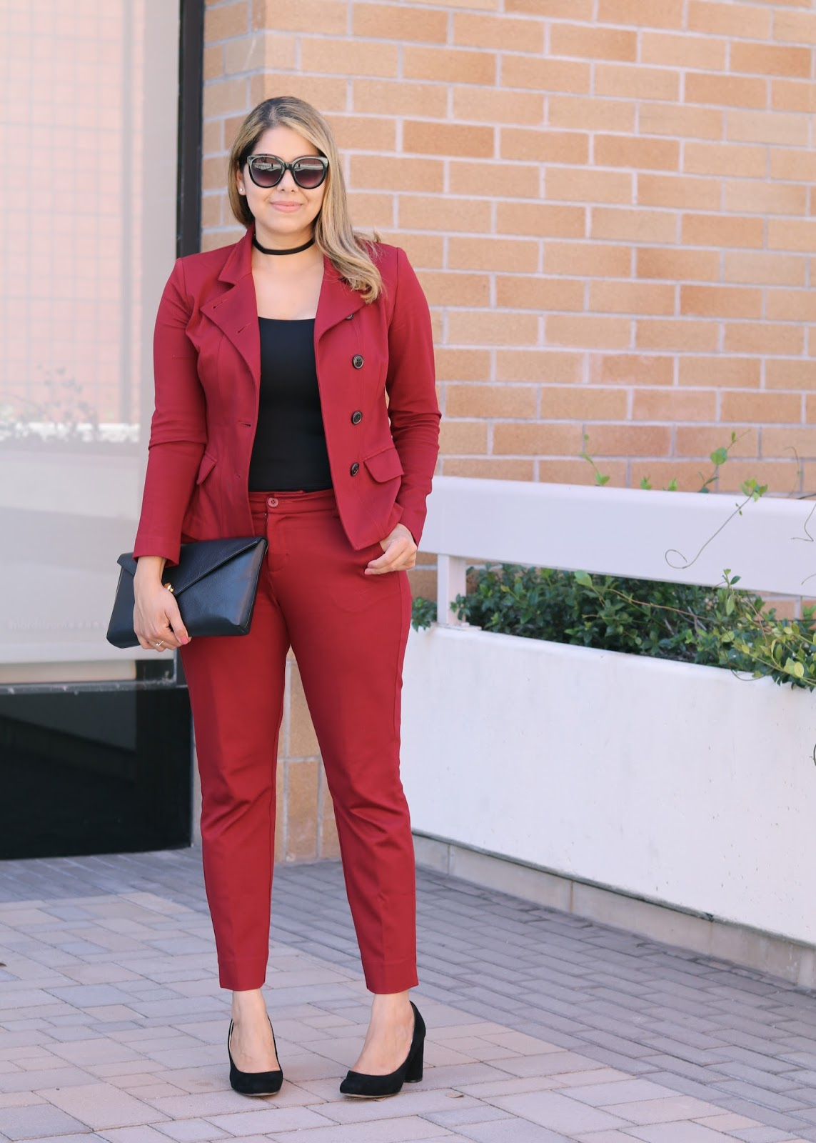 Fall Burgundy Suit, cabi suit, cabi red outing blazer, cabi ava trouser