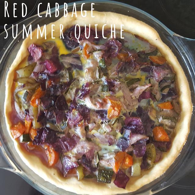 Red cabbage colourful summer quiche recipe
