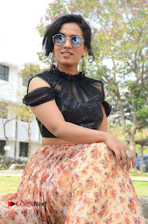 Actress Chetana Uttej Stills in Floral Long Skirt at Pichiga Nachav Movie Press Meet  0067.JPG