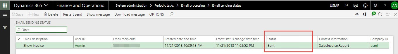 Email invoices using built-in email processing in D365FO - Finance
