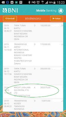 Bukti Pembayaran dari Paypal Hasil dari Aplikasi Wesing Android