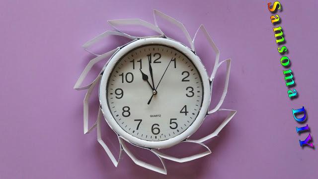 طريقة تزيين ساعة حائطية  .    DIY:  Designer Wall Clock