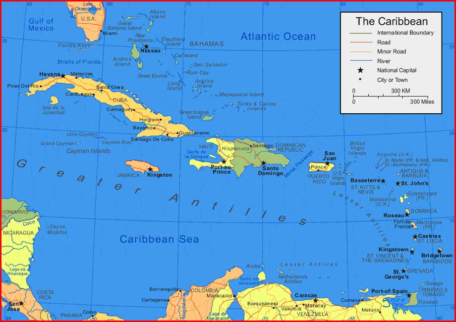 Caribbean Map Islands