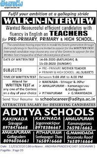 Aditya Schools Kakinada Teachers Jobs Recruitment 2020 Walk in Interview-Pre Primary, Primary, High School Teachers Jobs