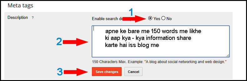 blog post me search description enable kaise kare