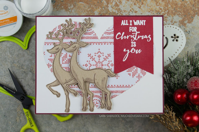 Clean and Simple handstamped Christmas Card - created using the Fun Stampers Journey Merry Everything Stamp Set, and the Cozy Winter Prints.