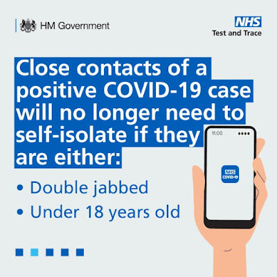 Close contacts no longer need to isolate if under 18 or double vaccinated image of hand holding phone and text