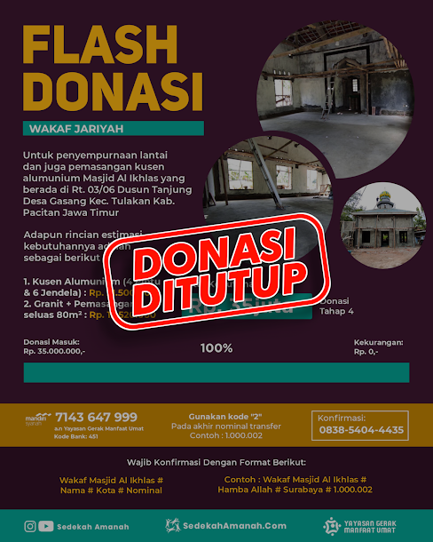 Donasi Tahap #4 Pembangunan Masjid Al Ikhlas Tanjung Gasang Tulakan Pacitan