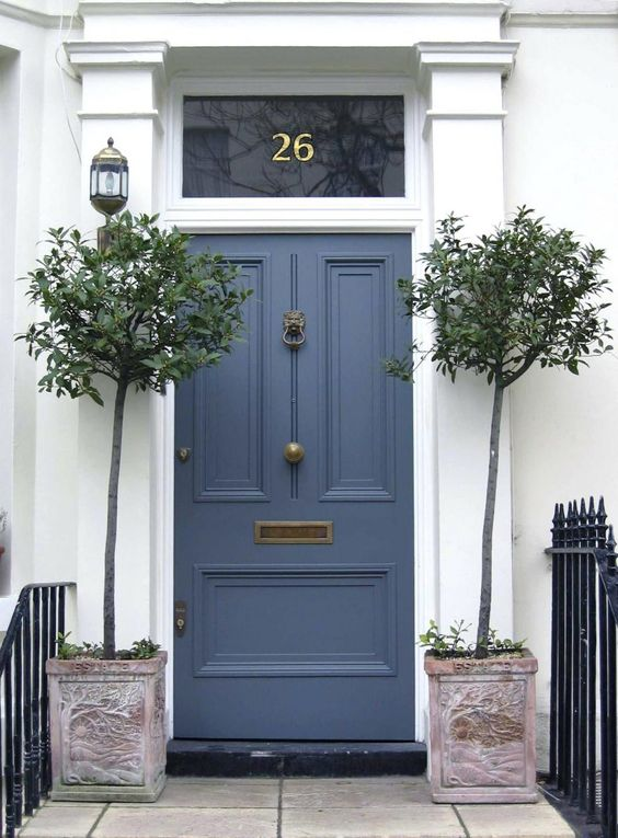 Dark blue painted front door