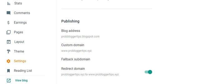 redirect blogger domain settings