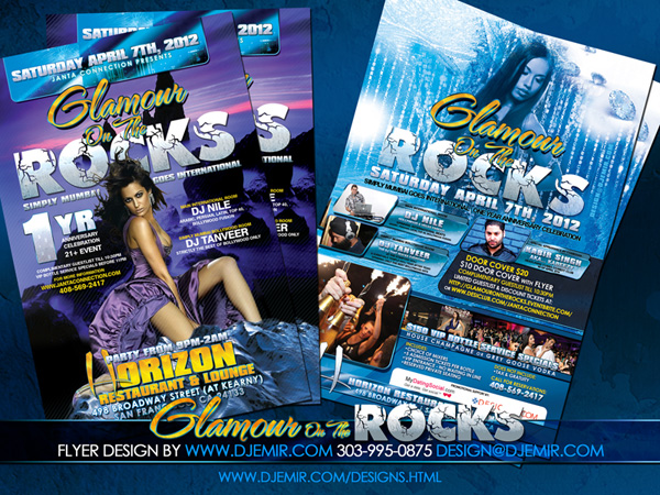 Glamour On the Rocks Bollywood Flyer Design San Francisco CA