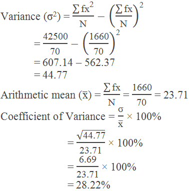 Example 4: calculation of variance by using formula