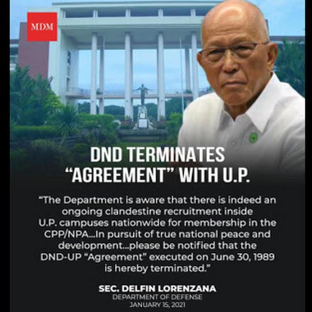 "Sec. Lorenzana Anounces DND Terminates ""Agreement"" with UP"