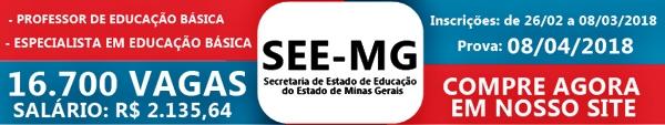 Apostila SEE-MG 2018 Professor e Especialista em Educação Básica
