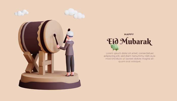 Eid Mubarak 3D Banner Template With Drum Brown Suits