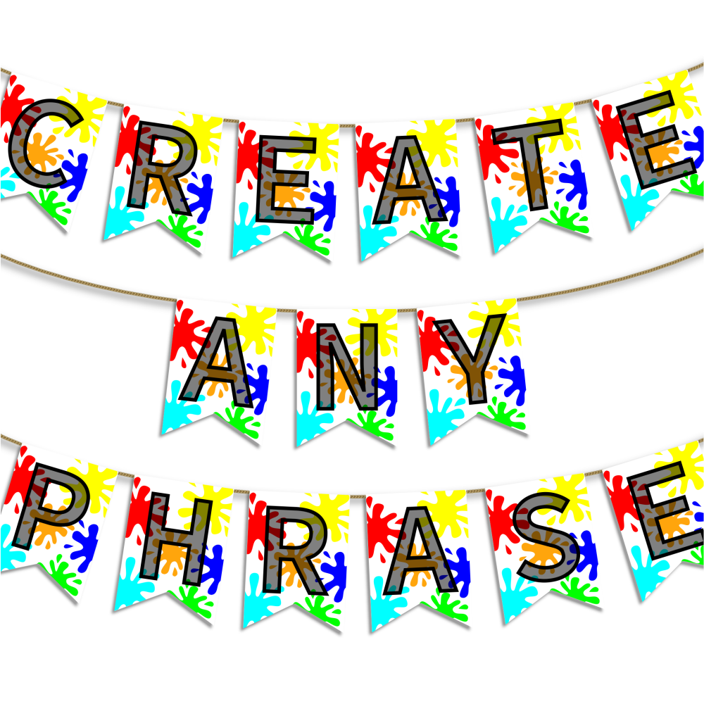 Printable bunting flags for party garland, paint splat design from A four Printables.