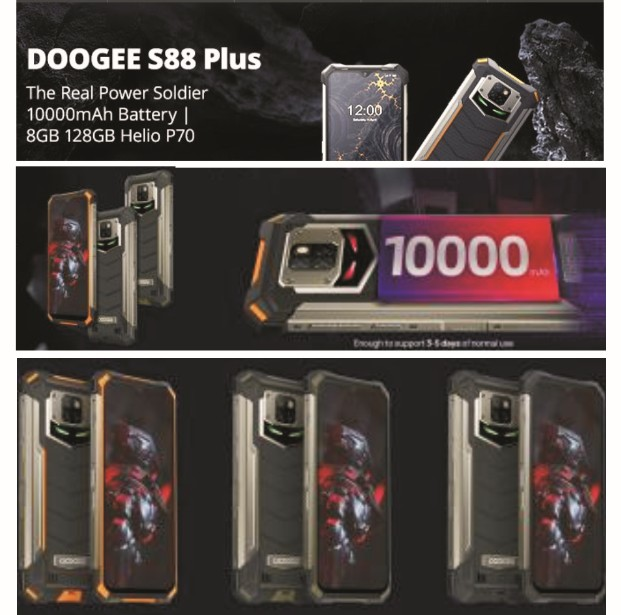 DooGee S88 Plus Smartphone - Specs 10,000mAh Battery, 128GB8GB Memory, Helio P70 (8Core), 48MP AI Cams, 6.3-Inch FHD, FaceFingerprint Security, Waterproof