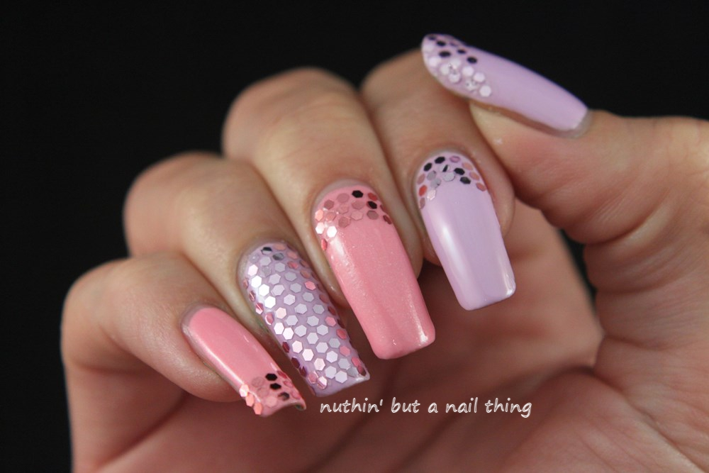 models own pastel sequin nail art