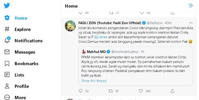 Mahfud MD Cerita Keseruan Nonton Sinetron Ikatan Cinta Di Masa PPKM, Fadli Zon: Begini Jadinya Tak Dipimpin Presiden