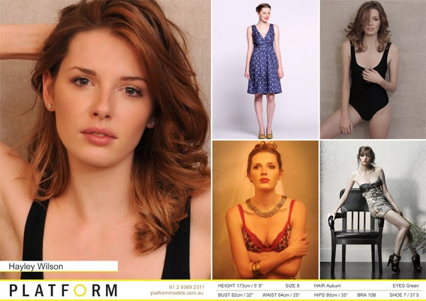 Platform Comp Card for Hayley - Headshot, swimwear, lingerie pics by Kent Johnson.
