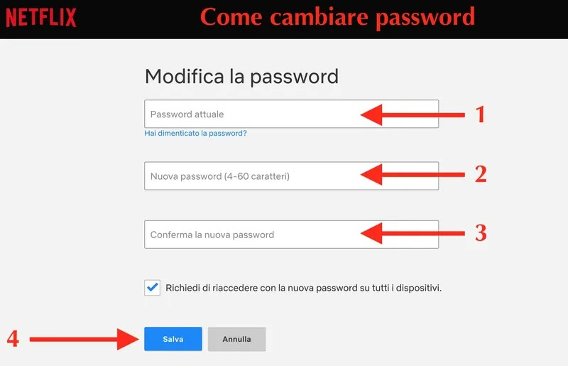 schermata per modificare la password di netflix su browser per computer pc mac