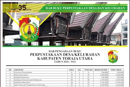 Contoh RAB Pengadaan Buku Desa Kabupaten Toraja Utara Provinsi Sulawesi Selatan Paket 35 Juta