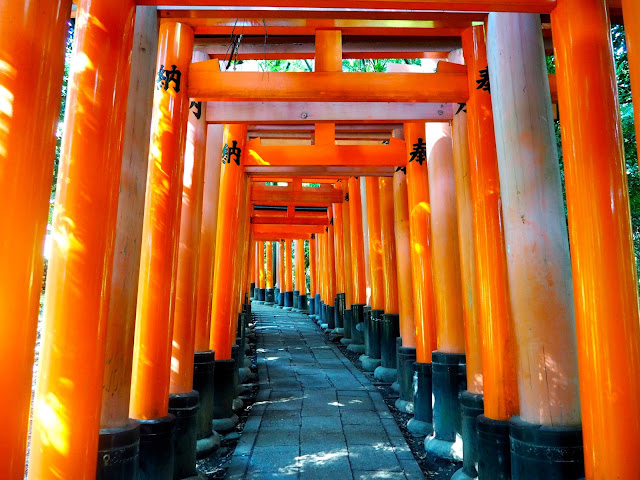 Vermillion gates at Fushimi Inari Taisha Shrine in Kyoto, Japan