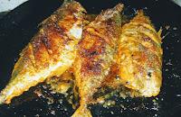 One side crisp golden fried mackerel bangda fish Tawa fry Recipe