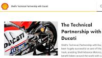 Gambar menunjukan shell berkerjasama dengan sukan lumba motor ducati