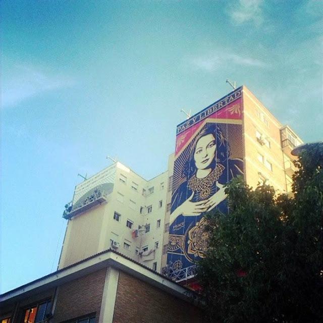 """Paz Y Libertard"" New Street Art Mural By American Artist Shepard Fairey For Maus Malaga In Spain. 5"