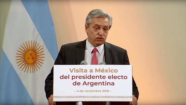 """Alberto Fernández dispuesto a profundizar el """"vínculo político y económico"""" entre México y Argentina"""