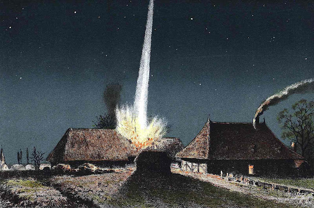 an 1881 meteorite strike on a country home, illustrated