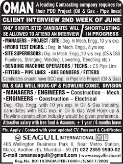 Oil & Gas Pipe line construction jobs in Oman