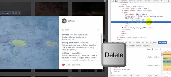 Delete the highlighted code in your instagram window