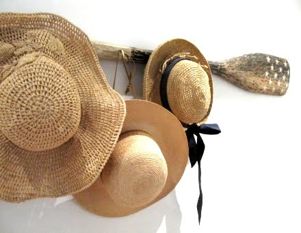 hang straw hats on rack