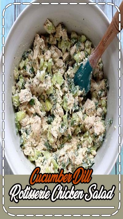 This recipe for lightened-up Cucumber Dill Greek Yogurt Rotisserie Chicken Salad comes together in less than 10 minutes and tastes like summer in a bowl thanks to crisp cucumber and flavorful herbs. Made with Greek yogurt, it's a protein-packed salad that will fill you up without making you feel weighed down!