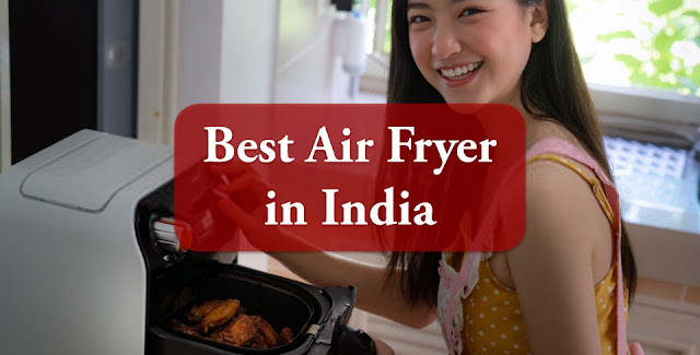 A girl is cooking food with air fryer.