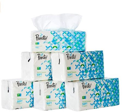 Amazon Brand Presto 2 ply facial tissue soft 200 pulls pack of 6