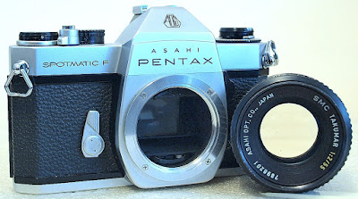 Asahi Pentax Spotmatic F (Chrome) Body #145, SMC Takumar 55mm 1:2 #201