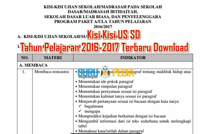 Kisi Kisi US SD Tahun Pelajaran 2016-2017 Terbaru Download Info Guru Pedia