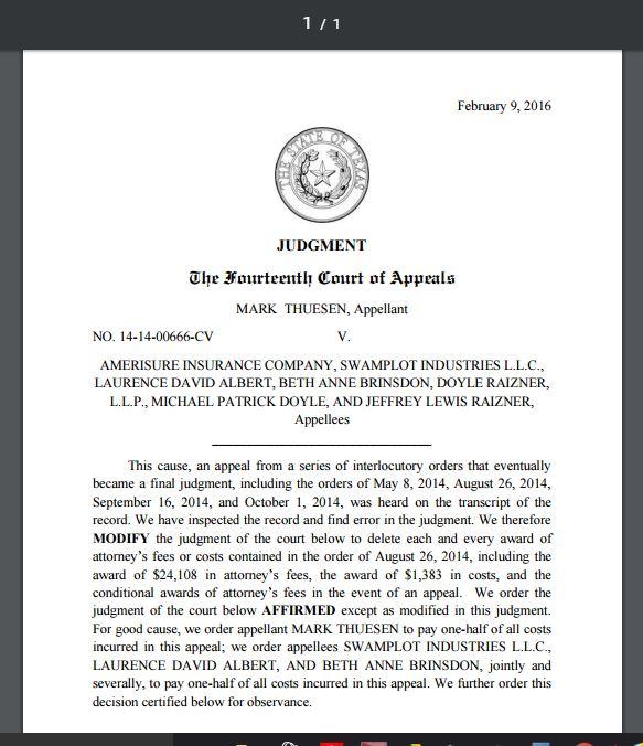 Houston Courts Cases Theusen V Swamplot Award Of Attorneys