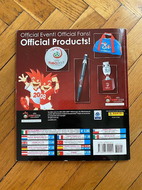 Quarta di copertina Panini Euro 2008