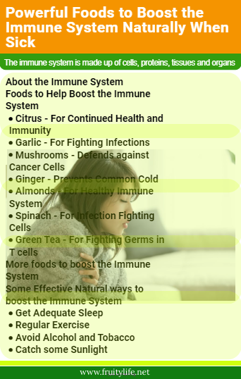 About the Immune System  Foods to Help Boost the Immune System  Citrus - For Continued Health and Immunity Garlic - For Fighting Infections Mushrooms - Defends against Cancer Cells Ginger - Prevents Common Cold Almonds - For Healthy Immune System Spinach - For Infection Fighting Cells Green Tea - For Fighting Germs in T cells More foods to boost the Immune System  Some Effective Natural ways to boost the Immune System   Get Adequate Sleep Regular Exercise Avoid Alcohol and Tobacco Catch some Sunlight