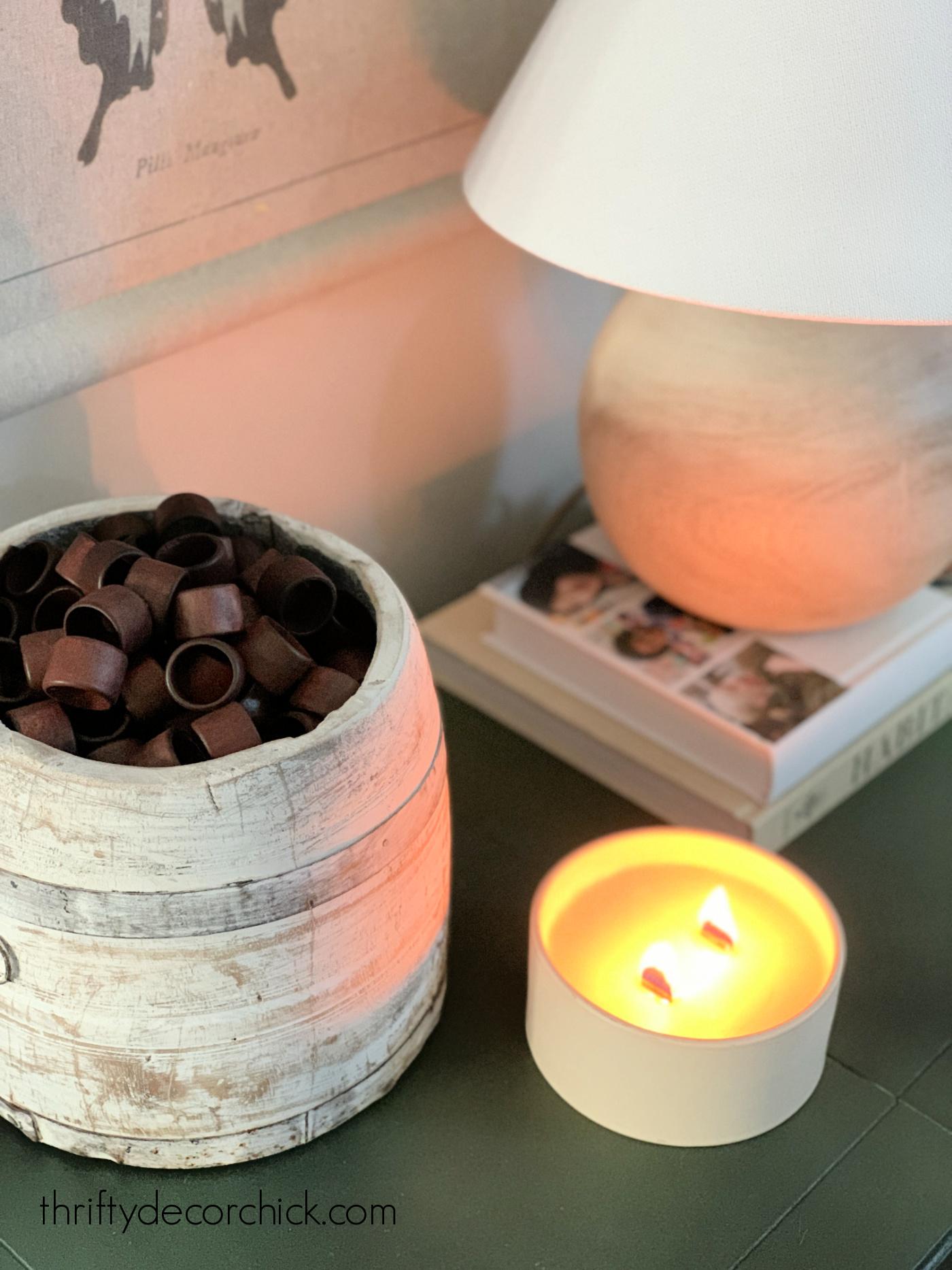 Wood ring filler in vase