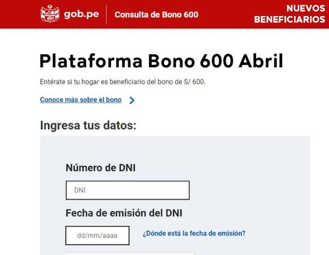 LINK Bono 600 Soles: Nuevo LINK De Consulta De ABRIL