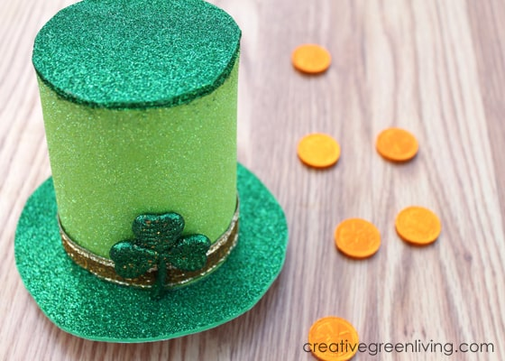 glittery green st patricks day hat idea